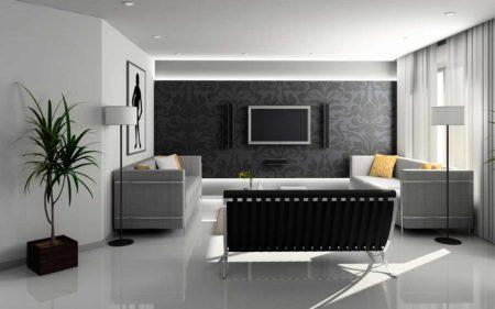 Фото привлекательного варианта оформления небольшой гостиной, выполненной в сером цвет со светло-серым натяжным потолком и точечным освещением