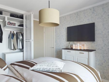 Создание привлекательного интерьера в белых тонах с полосатыми элементами декора