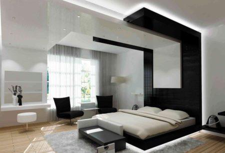 Оригинальные контрастные выступы на потолочной поверхности – стильно и современно