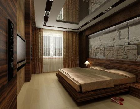 Один из вариантов дизайна спальни в темно-коричневой цветовой гаммой с зеркалом