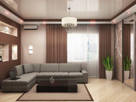Фото интерьера гостиной с сочетанием светло-бежевых и темно-коричневых тонов