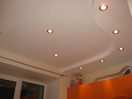 Фото дизайна двухуровневого подвесного потолка из гипсокартона