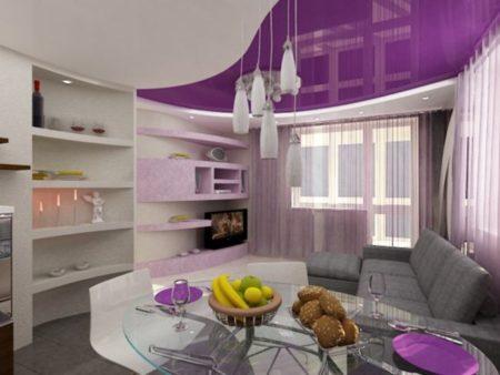 Дизайн гостиной с сиреневыми вставками
