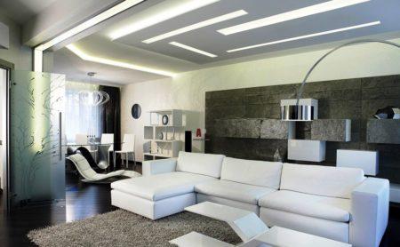 Хай-тек стиль при оформлении потолочной поверхности – воплощение моды, минимализма и изысканности