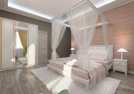 Фото классической спальни с выделением зоны сна