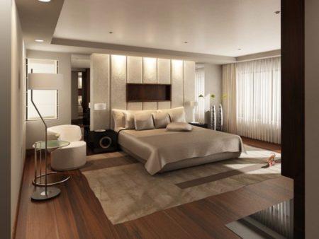 Привлекательный дизайн спальной комнаты, где сочетаются между собой различные оттенки кремового цвета