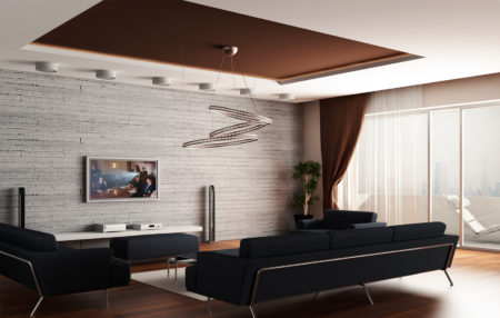 Фото неординарного потолка из ткани коричневого цвета в помещении