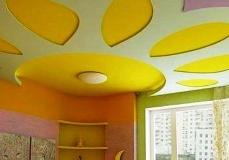 Покраска потолочного покрытия из гипсокартона