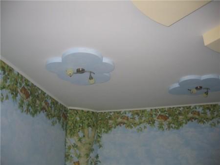 Окрашенная гипсокартонная конструкция для детской комнаты