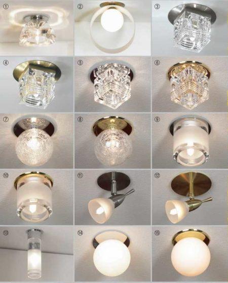 Разные модели точечных светильников