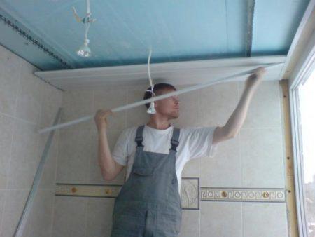 Установка реек на потолок
