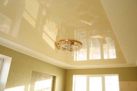 Пример использования натяжного потолка в гостиной