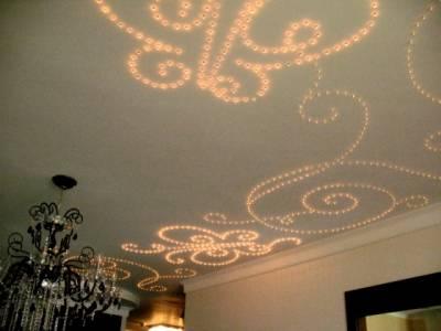 Узоры на потолке с подсветкой