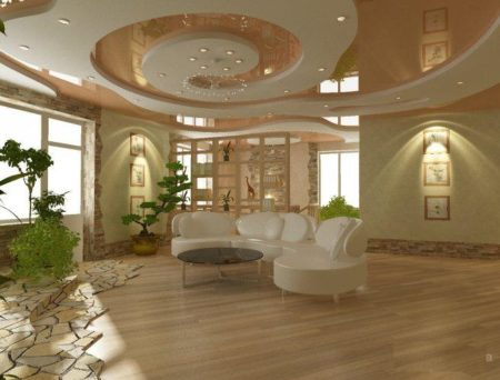 Натяжной потолок в сочетании с гипсокартонными конструкциями