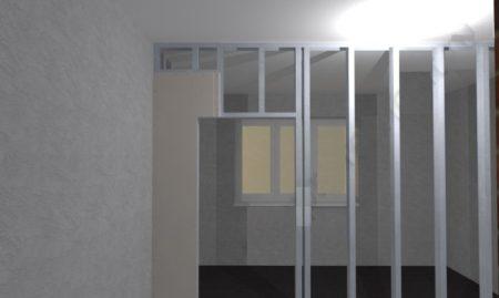 Монтаж стационарной стены с дверью