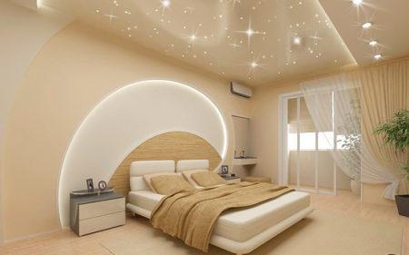Сочетание светодиодной подсветки и точечных светильников на потолке