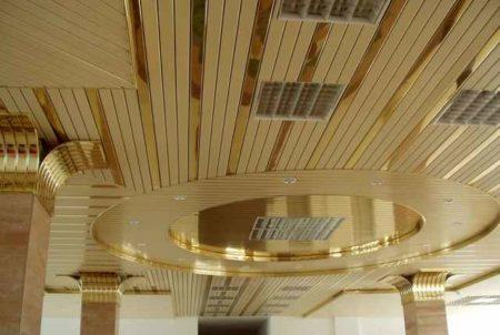 Роскошные перекрытия из планки с золотистым и зеркальным покрытием