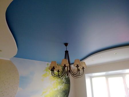 Комбинированный потолок из гипсокартона и натянутого полотна