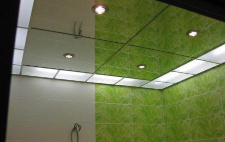 Комбинированный зеркальный и стеклянный потолок из кассет разного размера