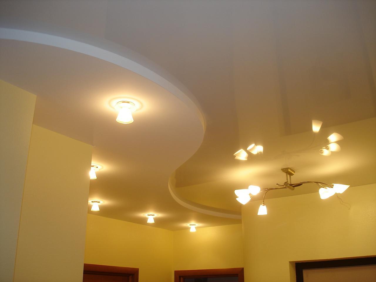 Оформление потолка в интерьере с помощью такого материала, гипсокартон